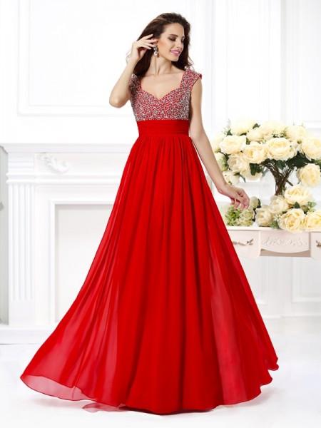 A-Line/Princess Straps Beading Sleeveless Paillette Long Chiffon Dresses