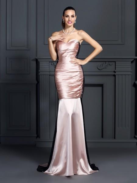 Trumpet/Mermaid Sweetheart Lace Sleeveless Long Taffeta Dresses