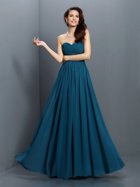 A-Line/Princess Sweetheart Pleats Sleeveless Long Satin Bridesmaid Dresses