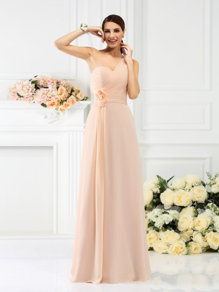 A-Line/Princess One-Shoulder Pleats Sleeveless Long Chiffon Bridesmaid Dresses