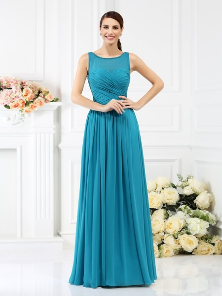A-Line/Princess Bateau Pleats Sleeveless Long Chiffon Bridesmaid Dresses