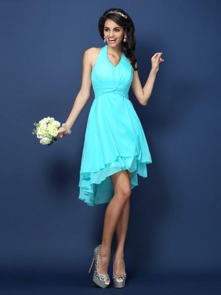 A-Line/Princess Halter Pleats Sleeveless Short Chiffon Bridesmaid Dresses