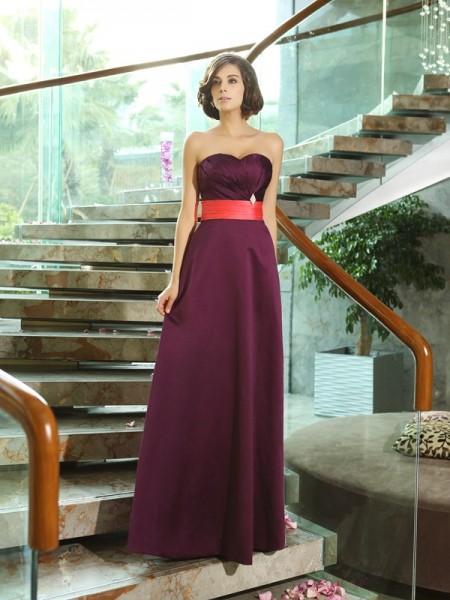 A-Line/Princess Sweetheart Sleeveless Long Satin Bridesmaid Dresses