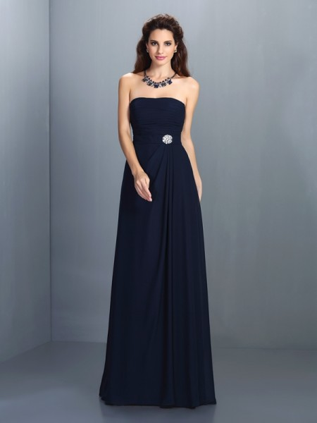 A-Line/Princess Strapless Rhinestone Sleeveless Long Chiffon Bridesmaid Dresses