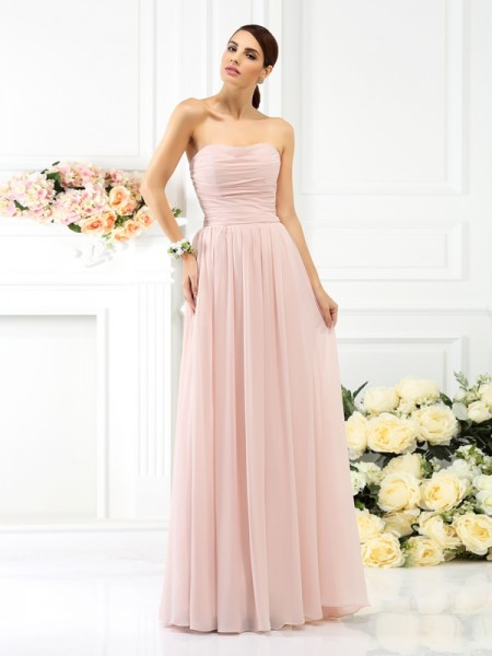A Line Princess Strapless Pleats Sleeveless Long Chiffon Bridesmaid Dresses
