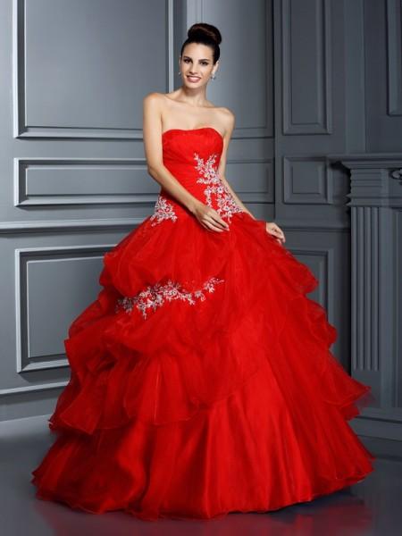 Ball Gown Strapless Applique Sleeveless Long Organza Quinceanera Dresses