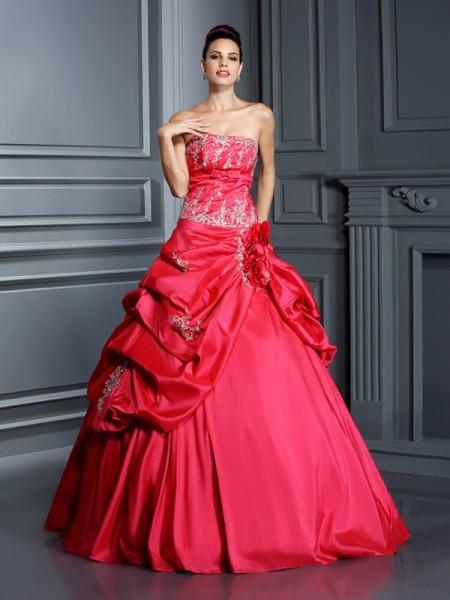 Ball Gown Strapless Applique Sleeveless Long Taffeta Quinceanera Dresses