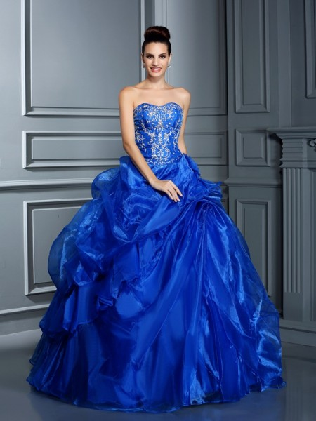 Ball Gown Sweetheart Applique Sleeveless Long Satin Quinceanera Dresses