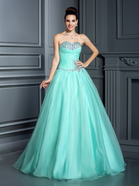 Ball Gown Sweetheart Beading Sleeveless Long Organza Quinceanera Dresses