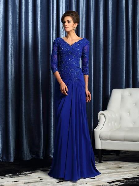 A-Line/Princess V-neck Applique 3/4 Sleeves Long Chiffon Mother of the Bride Dresses