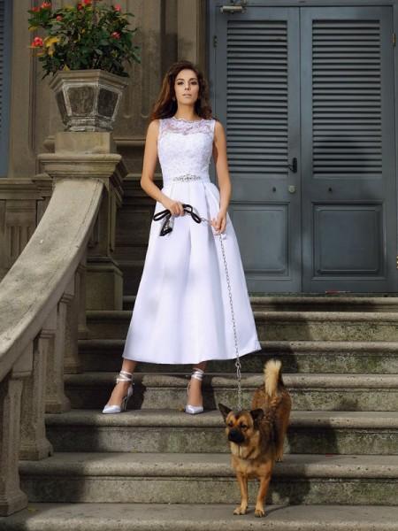 A-Line/Princess Bateau Applique Sleeveless Long Satin Wedding Dresses
