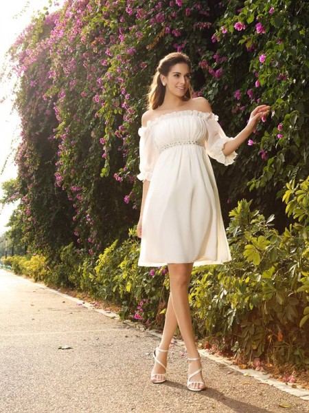 A-Line/Princess Off-the-Shoulder Beading 1/2 Sleeves Short Chiffon Wedding Dresses