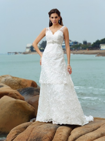 A-Line/Princess Straps Applique Sleeveless Long Satin Beach Wedding Dresses