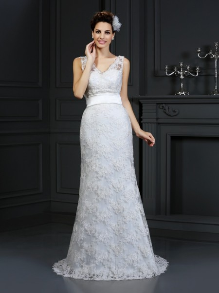 Trumpet/Mermaid Sweetheart Applique Sleeveless Long Lace Wedding Dresses