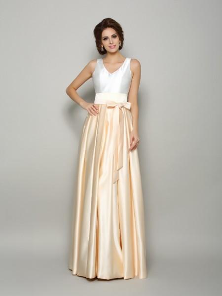 A-Line/Princess V-neck Bowknot Sleeveless Long Satin Mother of the Bride Dresses