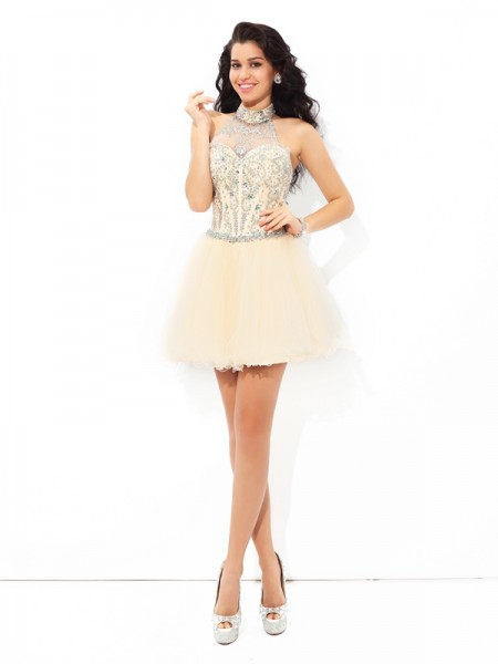 A-Line/Princess Halter Beading Sleeveless Short Satin Cocktail Dresses