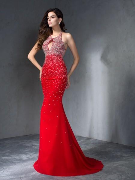 Trumpet/Mermaid Halter Beading Sleeveless Long Chiffon Dresses