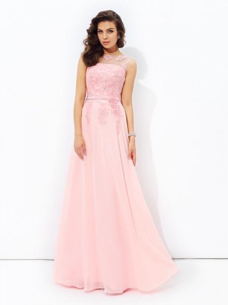 A-line/Princess Scoop Applique Sleeveless Long Chiffon Dresses