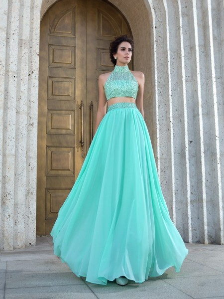 A-Line/Princess High Neck Beading Sleeveless Long Chiffon Two Piece Dresses
