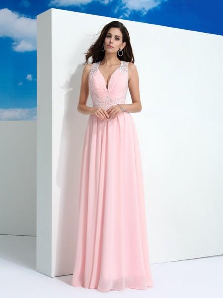 A-Line/Princess Straps Beading Sleeveless Long Chiffon Dresses