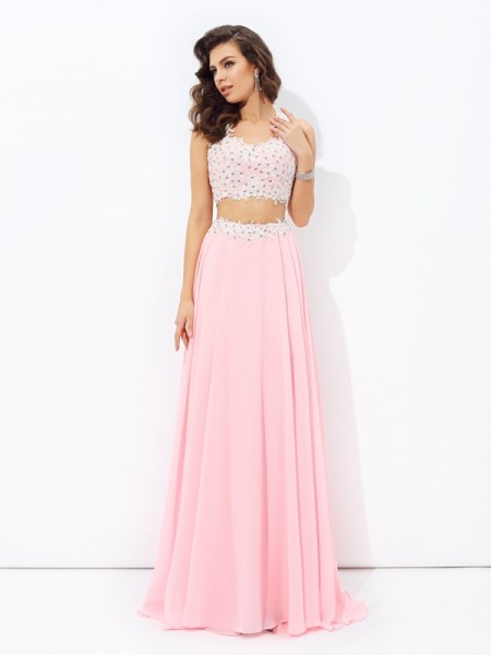 A-line/Princess Straps Applique Sleeveless Long Chiffon Two Piece Dresses