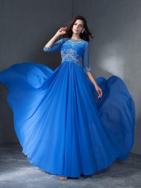 A-Line/Princess Scoop Beading 1/2 Sleeves Long Chiffon Dresses