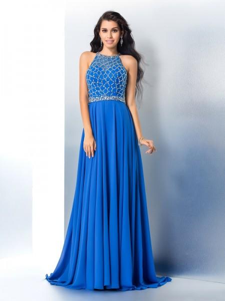 A-Line/Princess Scoop Beading Long Sleeveless Chiffon Dresses