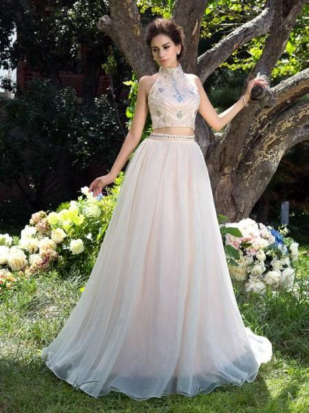 A-Line/Princess High Neck Beading Sleeveless Long Net Two Piece Dresses