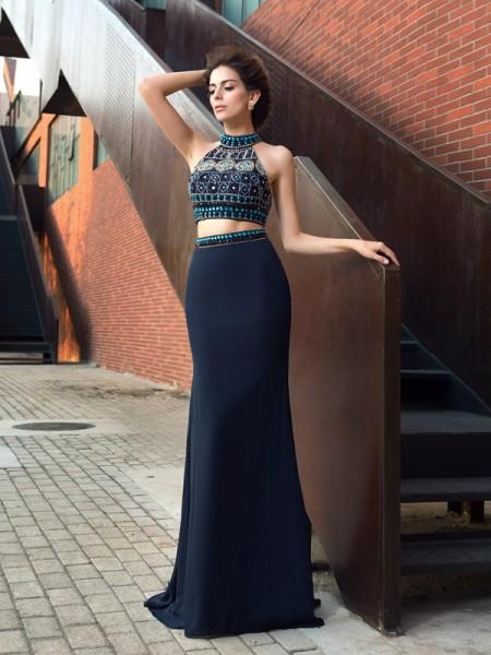 Sheath/Column High Neck Beading Sleeveless Long Chiffon Two Piece Dresses