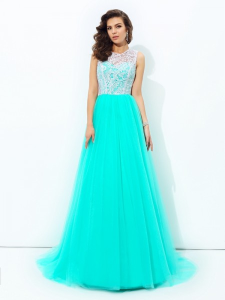 A-line/Princess Scoop Lace Sleeveless Long Net Dresses