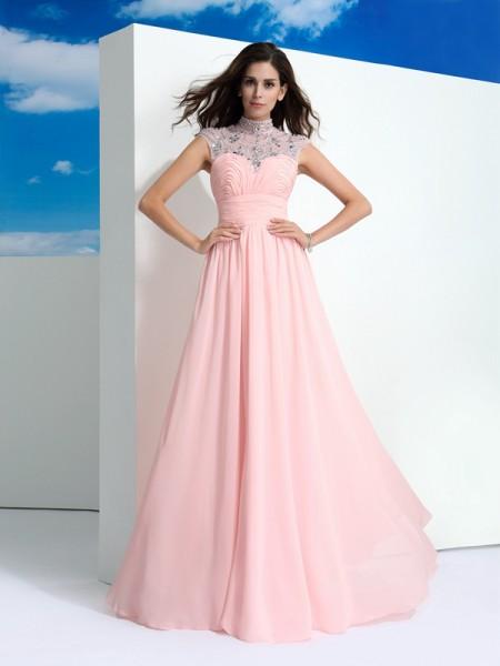 A-Line/Princess Sheer Neck Beading Sleeveless Long Chiffon Dresses