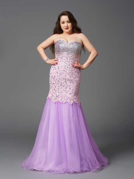 Trumpet/Mermaid Sweetheart Beading Sleeveless Long Net Plus Size Dresses
