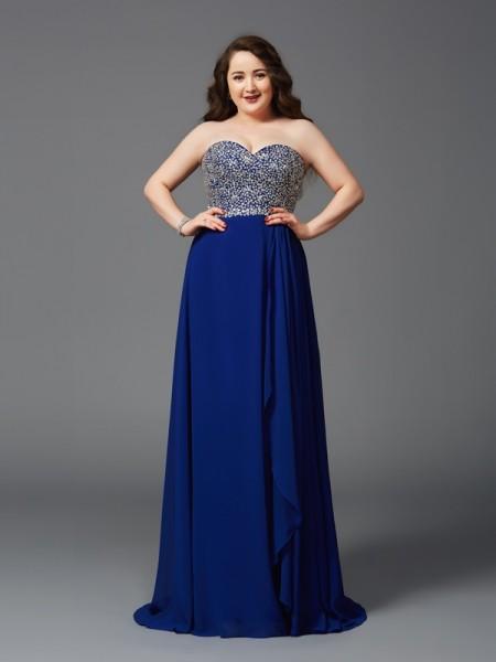A-Line/Princess Sweetheart Rhinestone Sleeveless Long Chiffon Plus Size Dresses