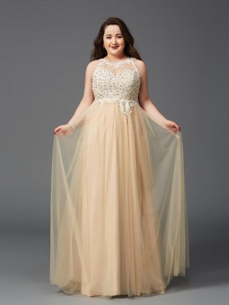 A-Line/Princess Scoop Rhinestone Sleeveless Long Net Plus Size Dresses