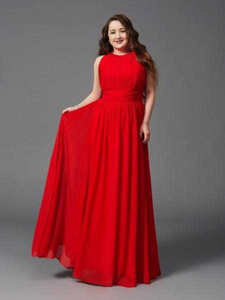 A-Line/Princess Jewel Ruched Sleeveless Long Chiffon Plus Size Dresses