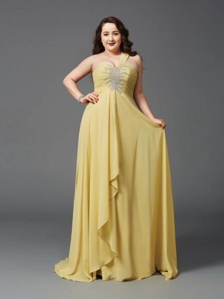 A-Line/Princess One-Shoulder Rhinestone Sleeveless Long Chiffon Plus Size Dresses