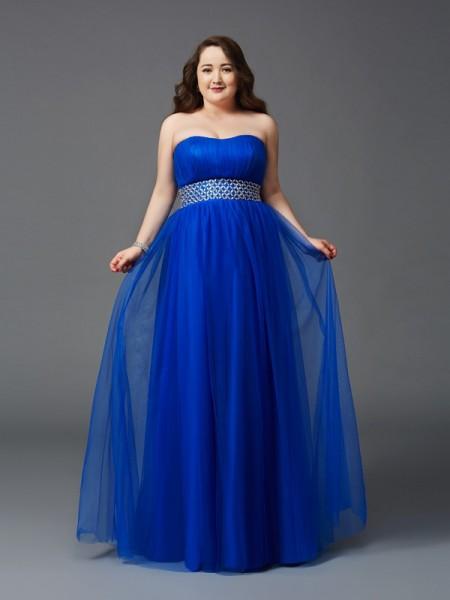 A-Line/Princess Strapless Rhinestone Sleeveless Long Net Plus Size Dresses