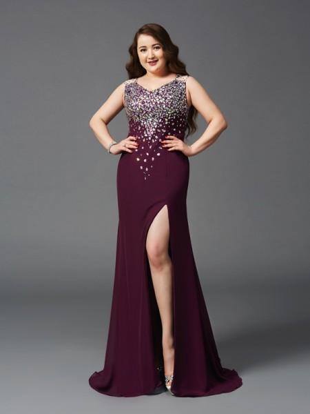 Sheath/Column Straps Rhinestone Sleeveless Long Chiffon Plus Size Dresses