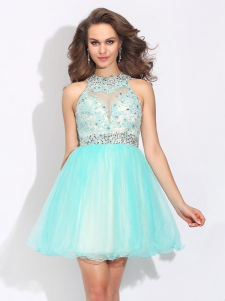 A-Line/Princess High Neck Lace Sleeveless Short Net Dresses