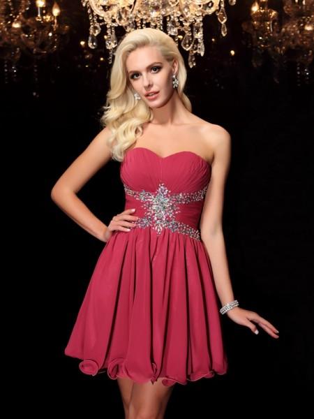 A-Line/Princess Sweetheart Rhinestone Sleeveless Short Chiffon Dresses