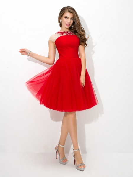 A-Line/Princess Sheer Neck Applique Sleeveless Short Net Cocktail Dresses