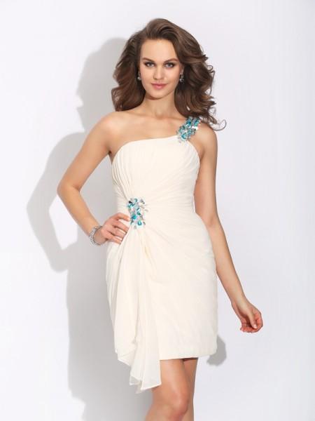 Sheath/Column One-Shoulder Beading Sleeveless Short Chiffon Dresses