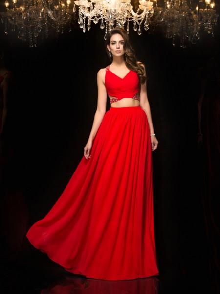 A-Line/Princess V-neck Beading Sleeveless Long Chiffon Two Piece Dresses