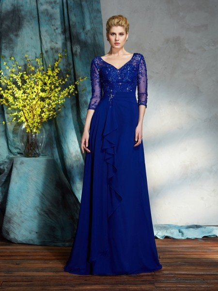 A-Line/Princess V-neck Sequin 3/4 Sleeves Long Chiffon Mother of the Bride Dresses