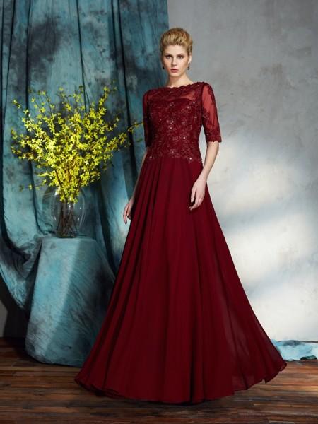 A-Line/Princess Bateau Applique 1/2 Sleeves Long Chiffon Mother of the Bride Dresses