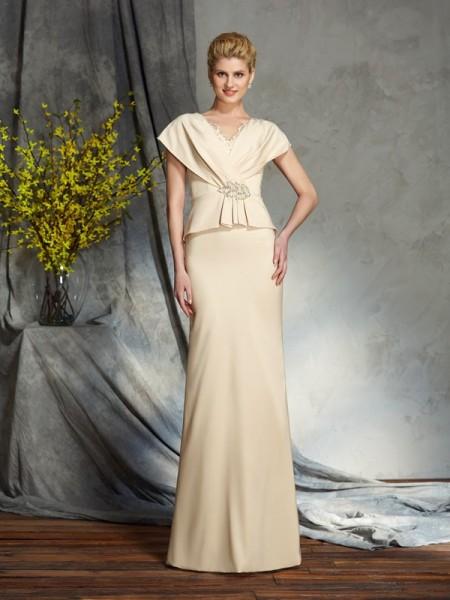 Sheath/Column V-neck Beading Short Sleeves Long Silk like Satin Mother of the Bride Dresses