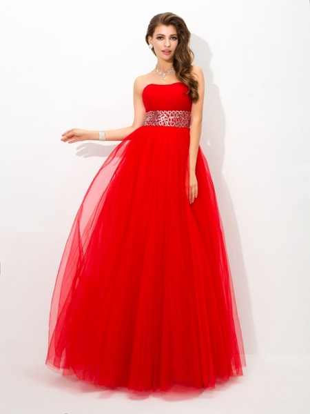 Ball Gown Strapless Beading Sleeveless Long Net Quinceanera Dresses