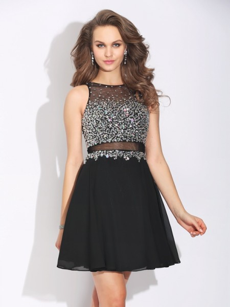 A-Line/Princess Jewel Beading Sleeveless Short Chiffon Dresses