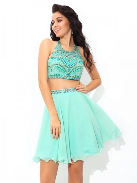 A-Line/Princess Sheer Neck Rhinestone Sleeveless Short Chiffon Two Piece Dresses