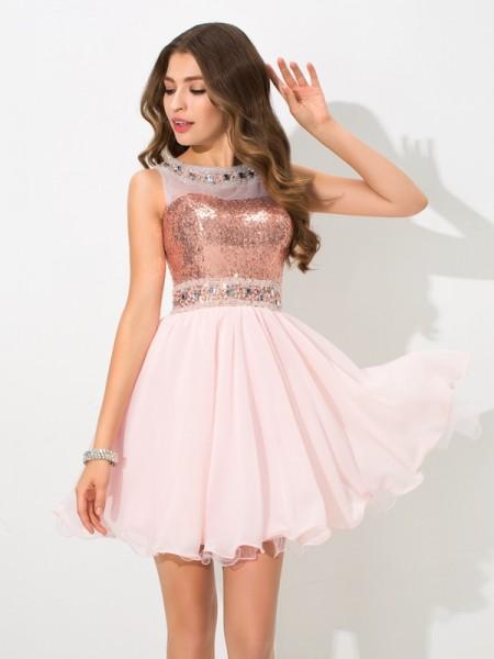A-Line/Princess Sheer Neck Sequin Sleeveless Short Chiffon Cocktail Dresses